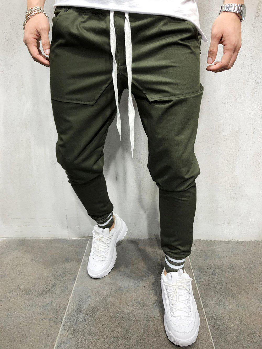 Trendy Elastic Waist Back Belt Embellished Jogger Pants