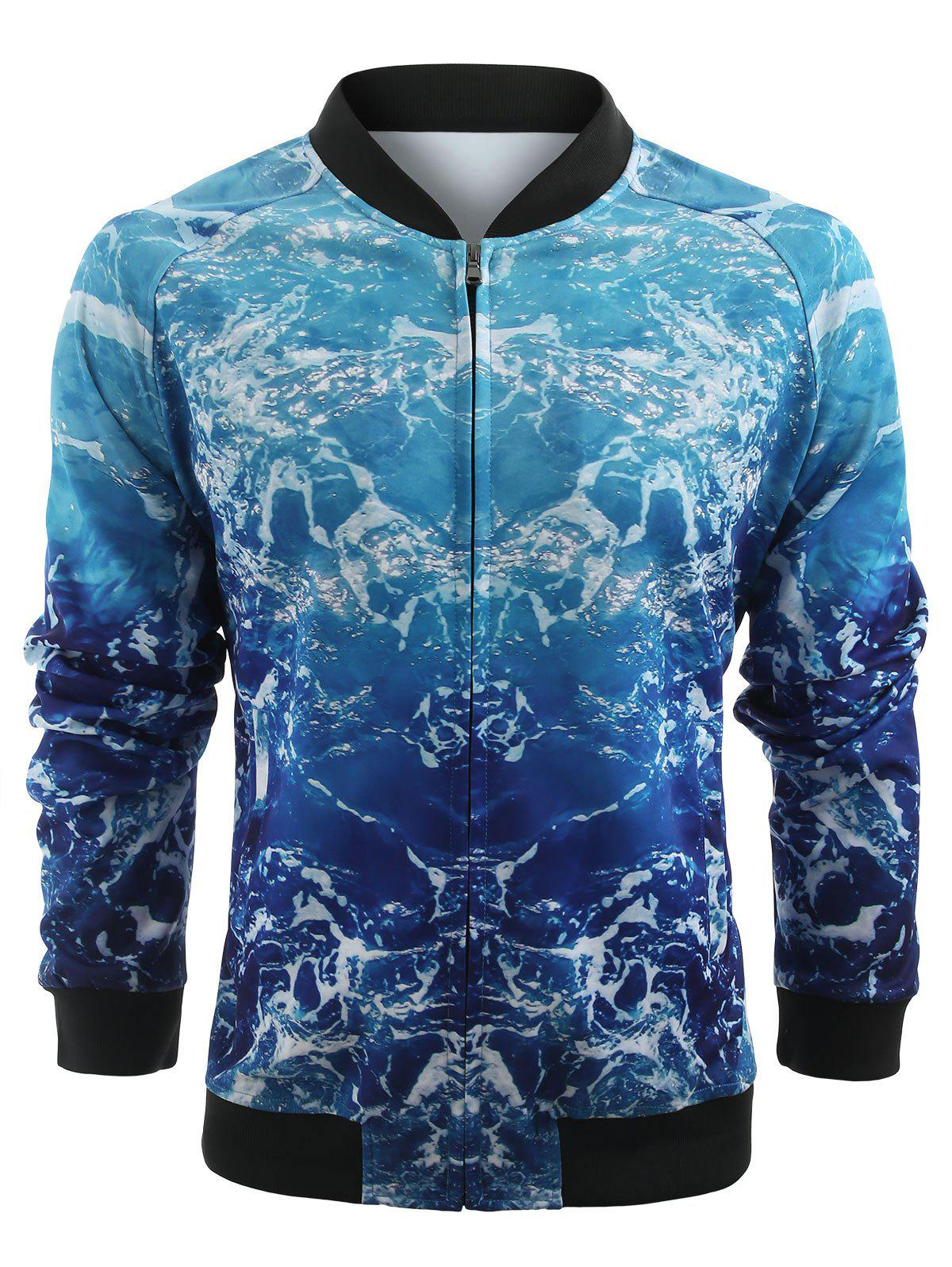 Online 3D Sea Wave Print Zip Up Jacket