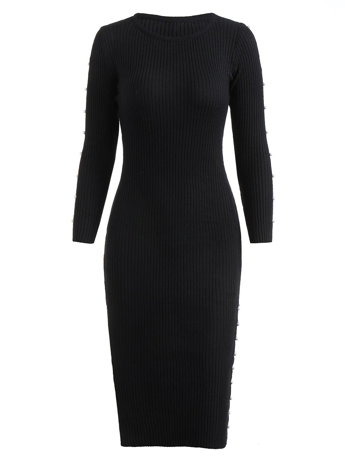 Buy Rhinestoned Balls Full Sleeve Knit Bodycon Dress