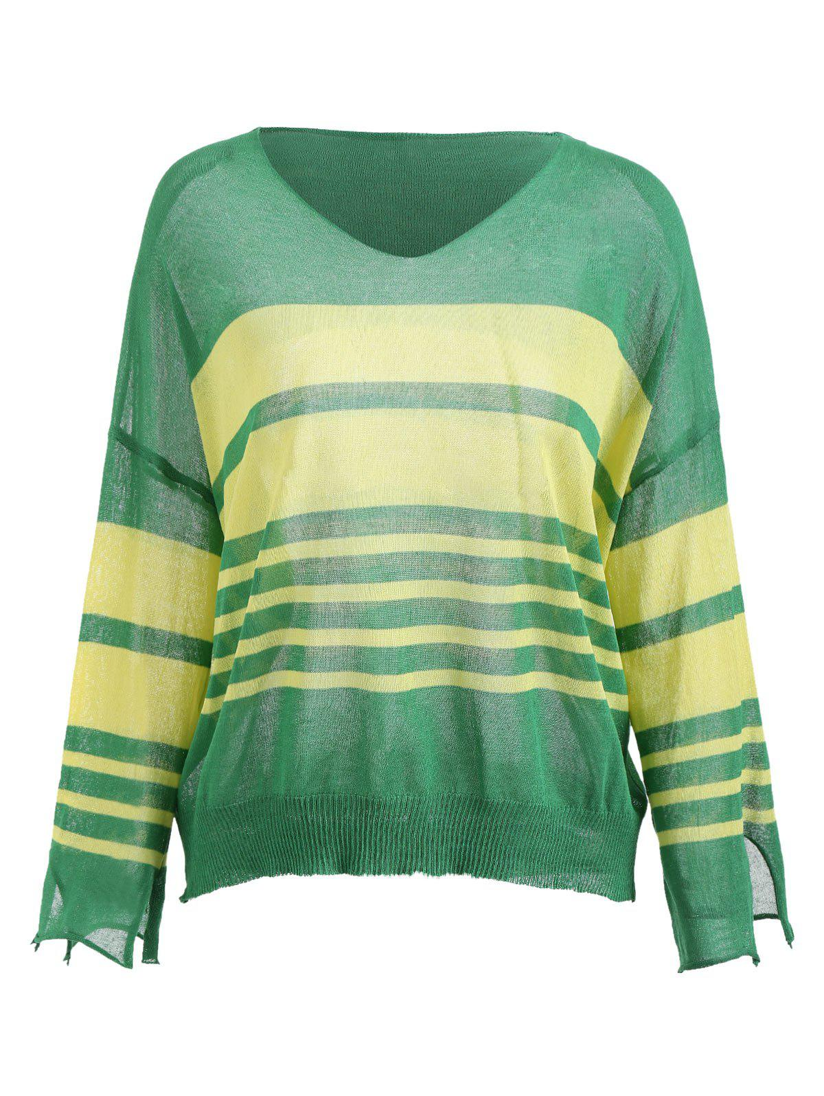 Cheap Color Block Stripe Knit Top