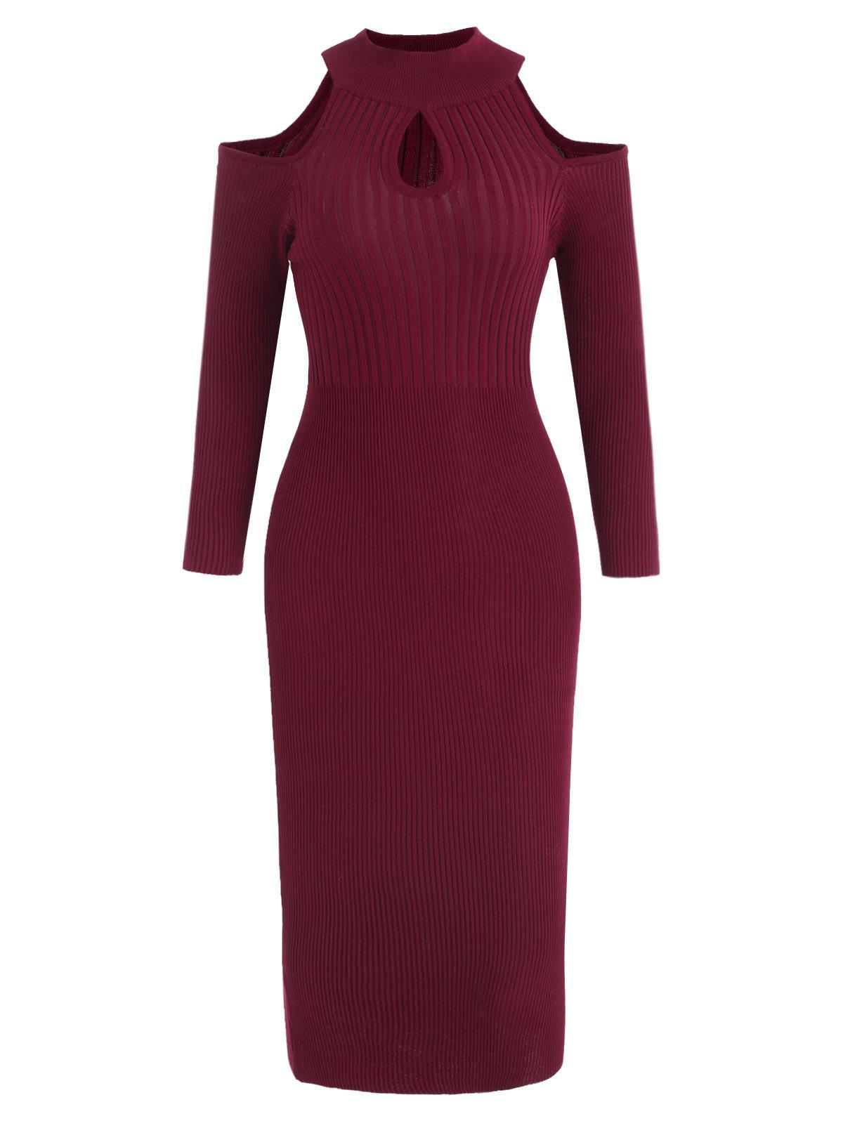 Unique Cold Shoulder Full Sleeve Knit Dress