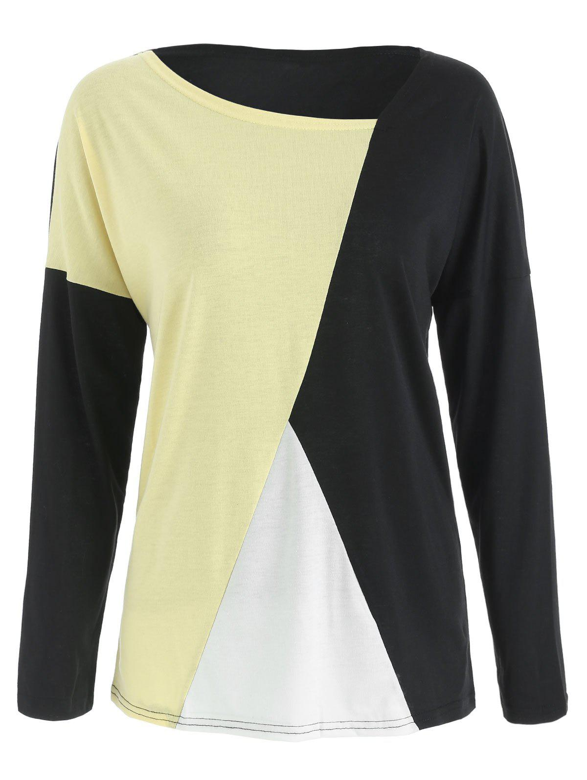 Best Batwing Sleeve Color Block T-shirt