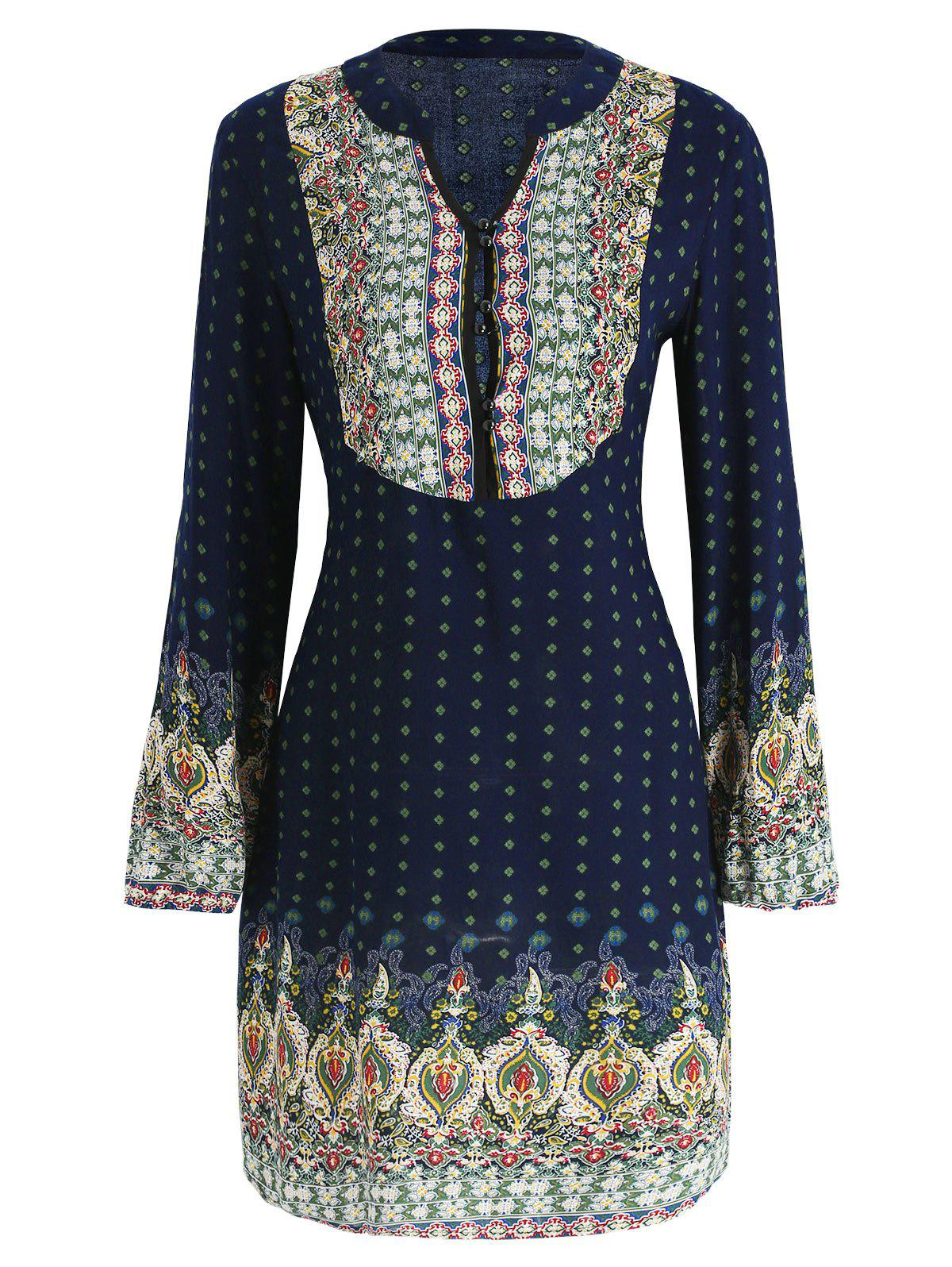 Chic Buttoned Ethnic Print Dress