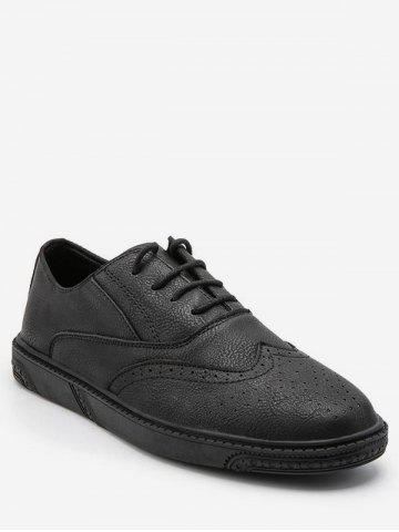 Retro Wing Tip Lace Up Work Sneakers - BLACK - EU 39