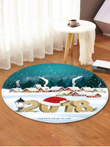 Christmas Happy New Year Decorative Round Floor Rug