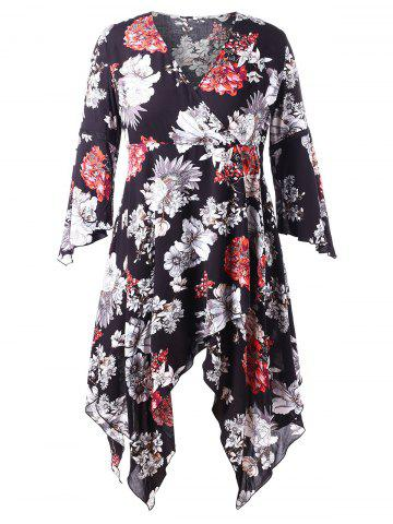 Plus Size Flare Sleeve Floral Handkerchief Dress
