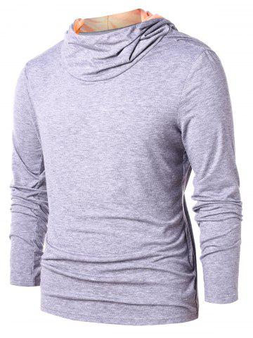 Sweat à Capuche Pull-over en Blocs de Couleurs - GRAY - L