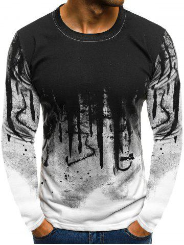 Ink Painting Print Long Sleeve Casual T-shirt f490ad814e1