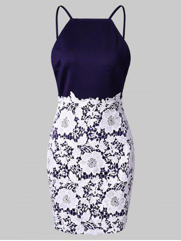Backless Contrast Lace Mini Bodycon Dress