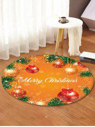 Merry Christmas Ball Pattern Round Floor Rug -