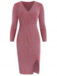 Full Sleeve Shiny Knit Surplice Dress -