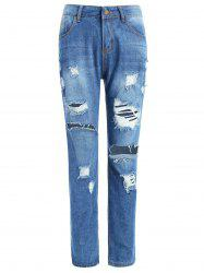 Mid Waist Ripped Jeans -