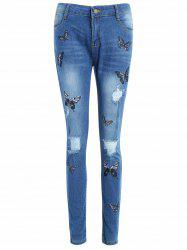 Butterflies Embroidery Bodycon Ripped Jeans -