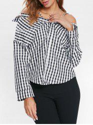 Cold Shoulder Full Sleeve Tartan Shirt -