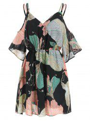 Flower Print Cold Shoulder Dress -