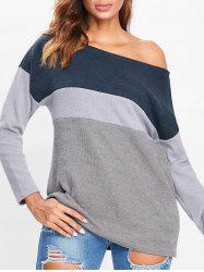Skew Neck Color Block Knitwear -
