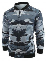 Camo Printed Zipper Placket Jacket -