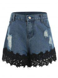 Lace Panel Ripped Jean Shorts -