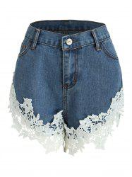 High Waisted Lace Panel Jean Shorts -