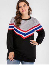 Sweatshirt Color Block de Chevron Plus Size -