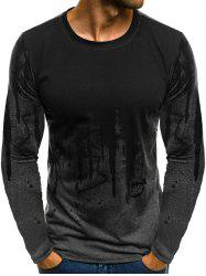 Ink Painting Print Long Sleeve Casual T-shirt -