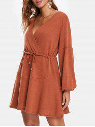 Puff Sleeve Drawstring Surplice Knitted Dress -