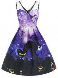 Halloween Galaxy Print Mesh Insert Dress -