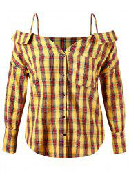 Plus Size Spaghetti Strap Plaid Button Up Shirt -