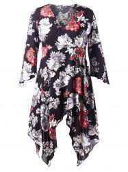 Plus Size Flare Sleeve Floral Handkerchief Dress -