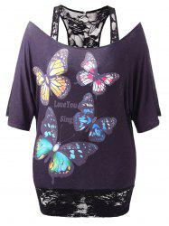 Butterfly Print Plus Size Lace Panel T-shirt -