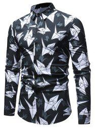 Allover Crane Print Long Sleeve Shirt -