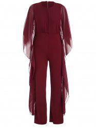 Bat Sleeve Chiffon Panel Jumpsuit -