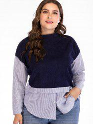 Striped Panel Plus Size Round Neck Sweatshirt -