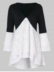 Contrast Lace Insert Asymmetrical Tunic Blouse -