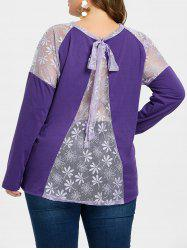 Plus Size Lace Back Tie T-shirt -