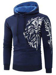 Sweat à Capuche Tigre Imprimé en Blocs de Couleurs - Cadetblue 2XL