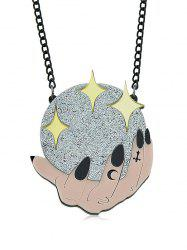 Hand Ball Star Pattern Geometric Pendant Chain Necklace -