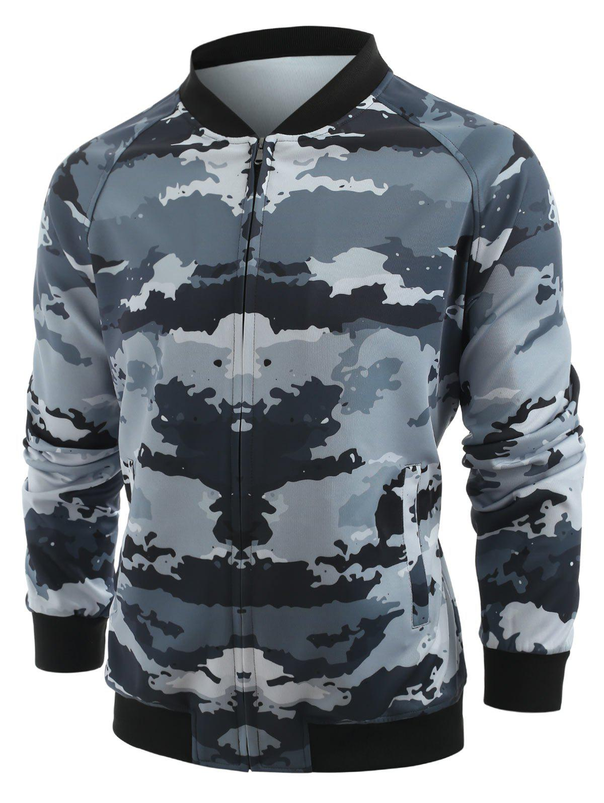 Shops Camo Printed Zipper Placket Jacket
