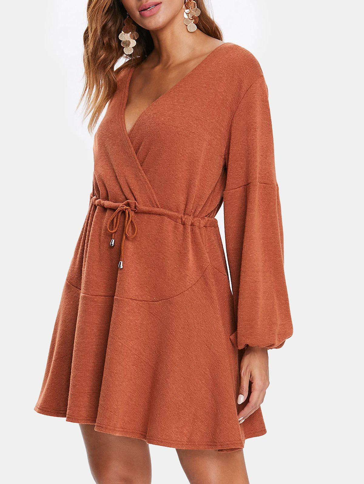 Discount Puff Sleeve Drawstring Surplice Knitted Dress