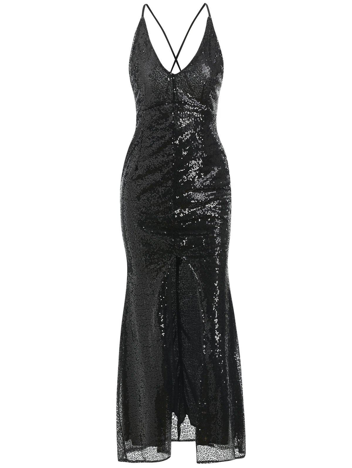 Black L Backless High Slit Sequin Dress | RoseGal.com