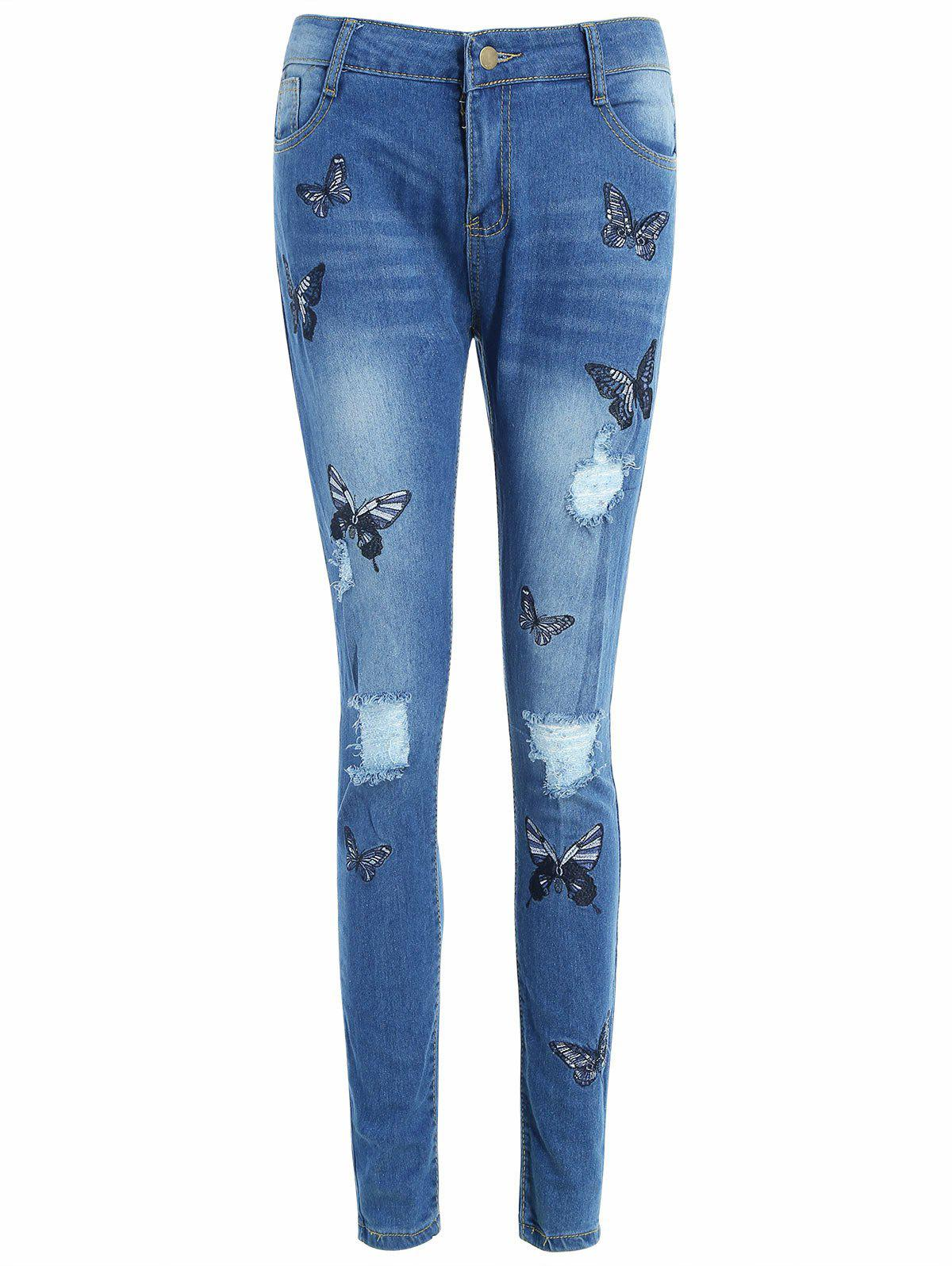 Buy Butterflies Embroidery Bodycon Ripped Jeans