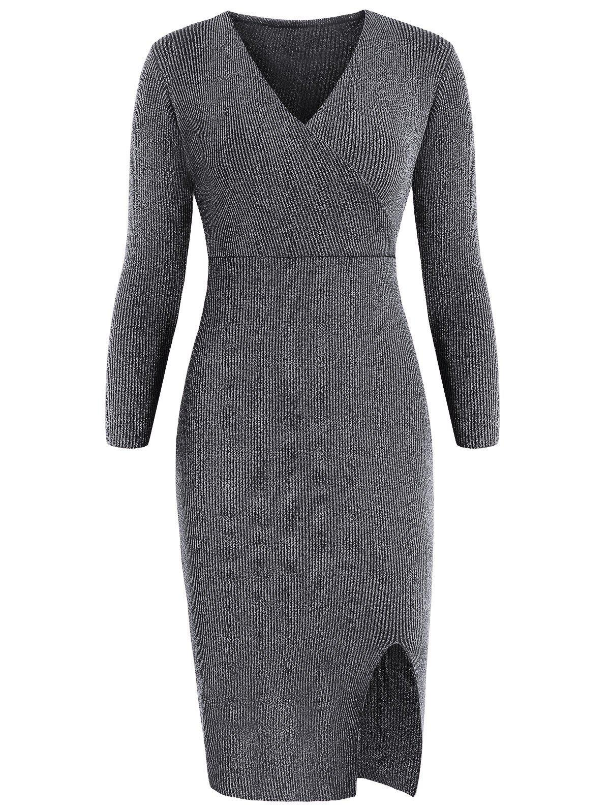 Shops Full Sleeve Shiny Knit Surplice Dress