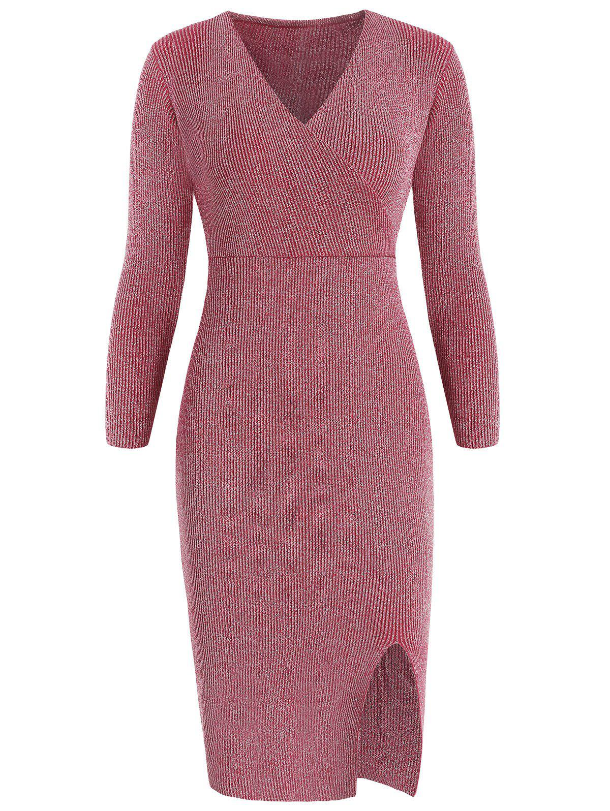 New Full Sleeve Shiny Knit Surplice Dress
