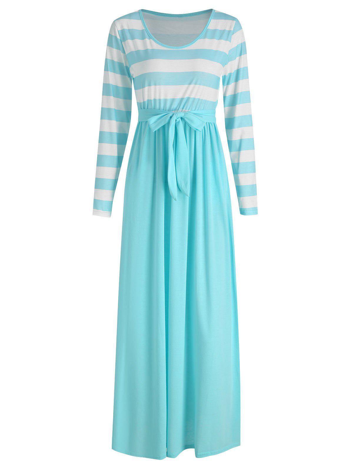 Best Full Sleeve Long Stripe Panel Dress