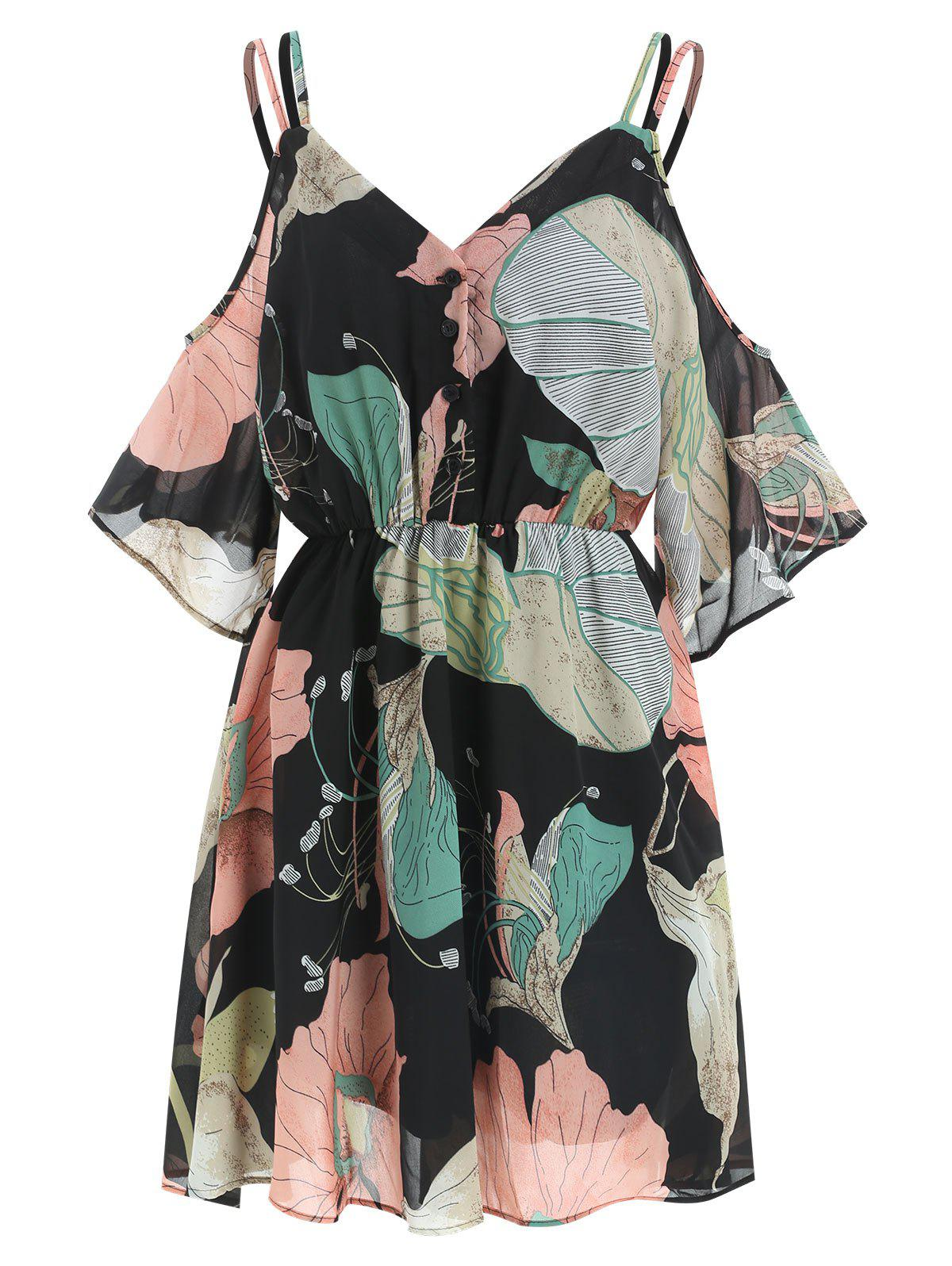 Unique Flower Print Cold Shoulder Dress