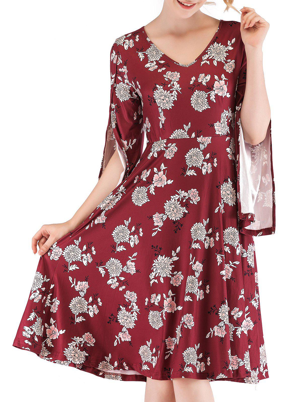 Cheap Floral Print Split Sleeve Flare Dress