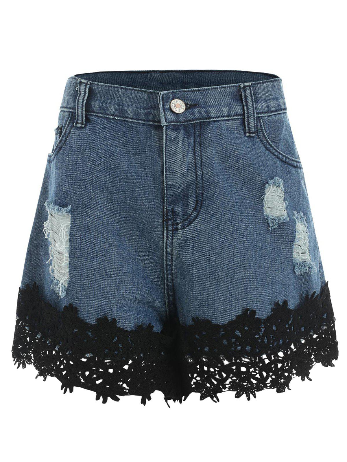 Online Lace Panel Ripped Jean Shorts