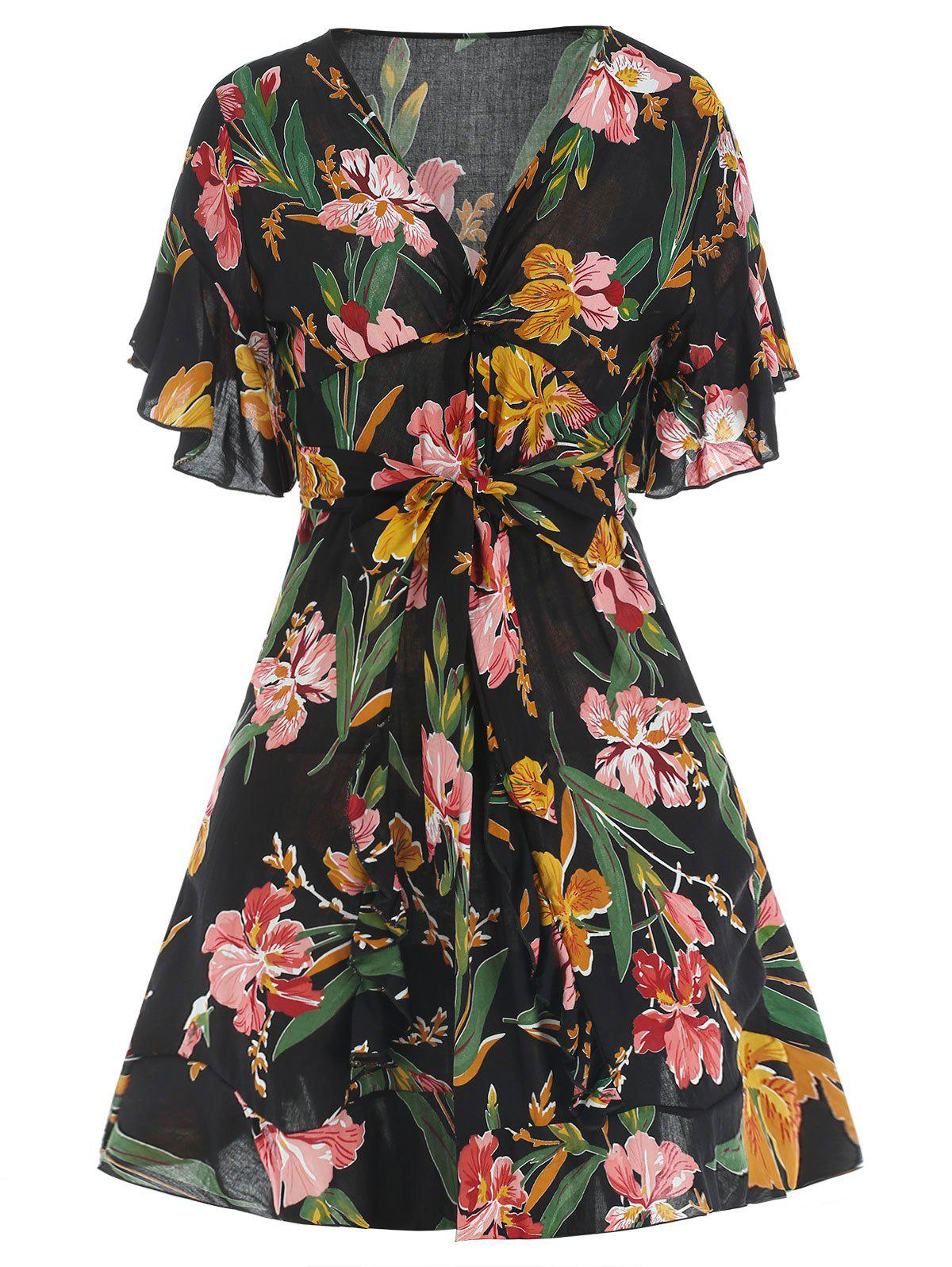 Store Tie Knot Floral Print Skater Dress