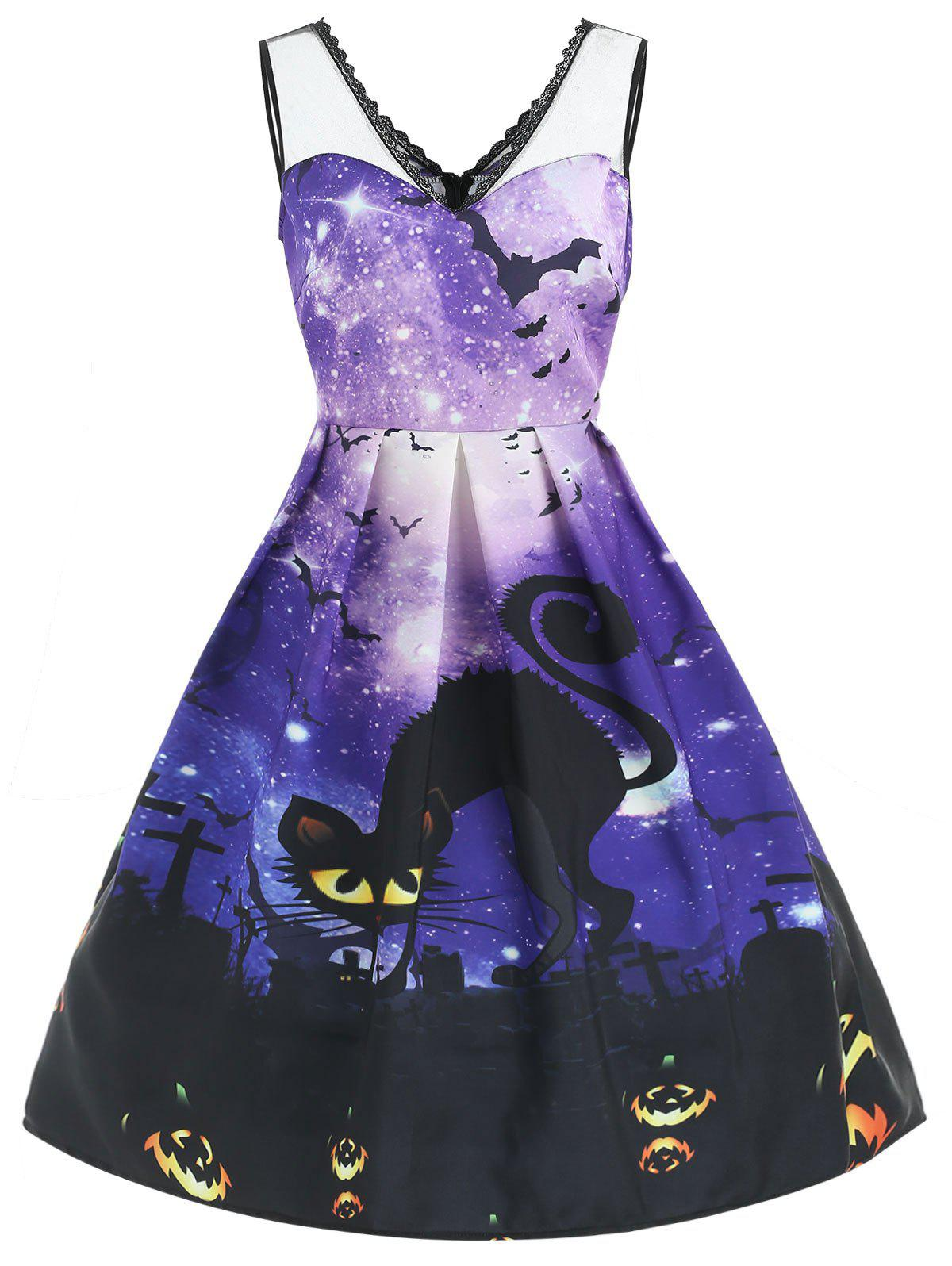Discount Halloween Galaxy Print Mesh Insert Dress