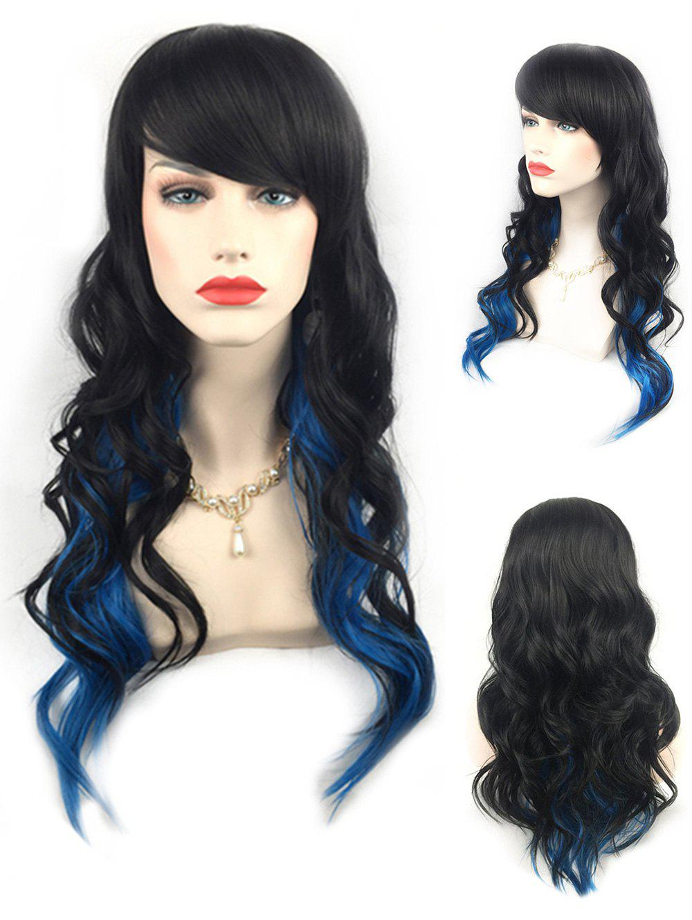 Outfit Long Inclined Bang Colormix Wavy Synthetic Wig